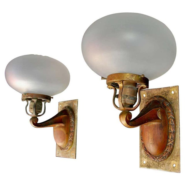 Copper 1920s Brass and Glass Outdoor/Indoor Sconces - a Pair For Sale - Image 8 of 8