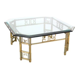 Mid-Century Modern Mastercraft Brass and Thick Glass-Top Square Coffee Table For Sale