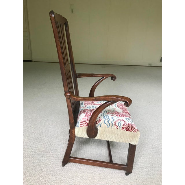 American Vintage Walnut Arm Chair With Clarence House Tibet Tiger Upholstery For Sale - Image 3 of 7