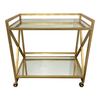 "Worlds Away Gerard Gold Leafed ""X"" Bar Cart For Sale"