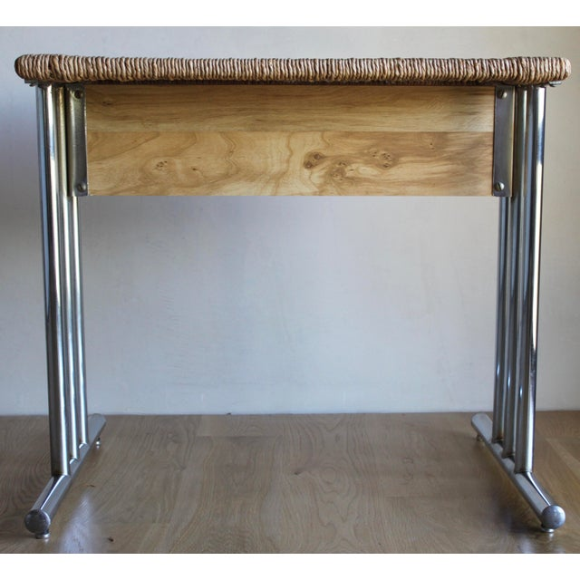 Mid Century Modern Chromcraft Woven Rush Rattan & Chrome Dining Table For Sale In San Diego - Image 6 of 10