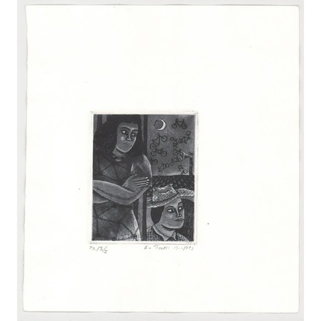 1993 Modern Portrait Aquatint With Flying Bicycles For Sale - Image 4 of 6