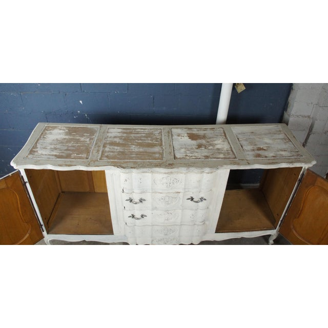 19th Century Antique French Country Provincial White Sideboard For Sale - Image 4 of 13