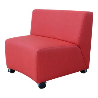 Steelcase Alison Spear Usa Coalesse Red Wedge Seat Lounge on Casters For Sale
