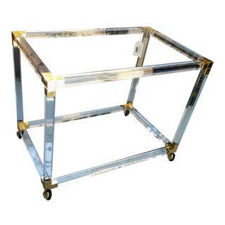 Tres Chic 1970's Lucite & Brass Rolling Table / Bar Cart For Sale