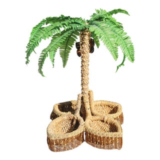 Vintage Wicker Coconut Palm Tree Basket For Sale