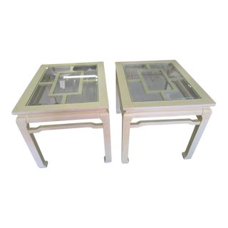 Asian Inspired Fretwork Side Tables - a Pair For Sale