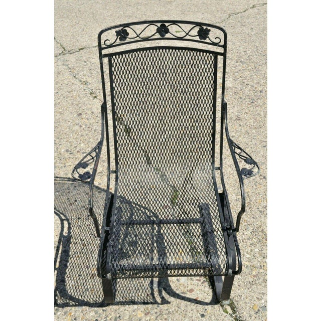 Pair of Vintage Russel Woodard Wrought Iron Garden Patio Bouncer Lounge Arm Chair Maple Leaf. Items feature scrolling...