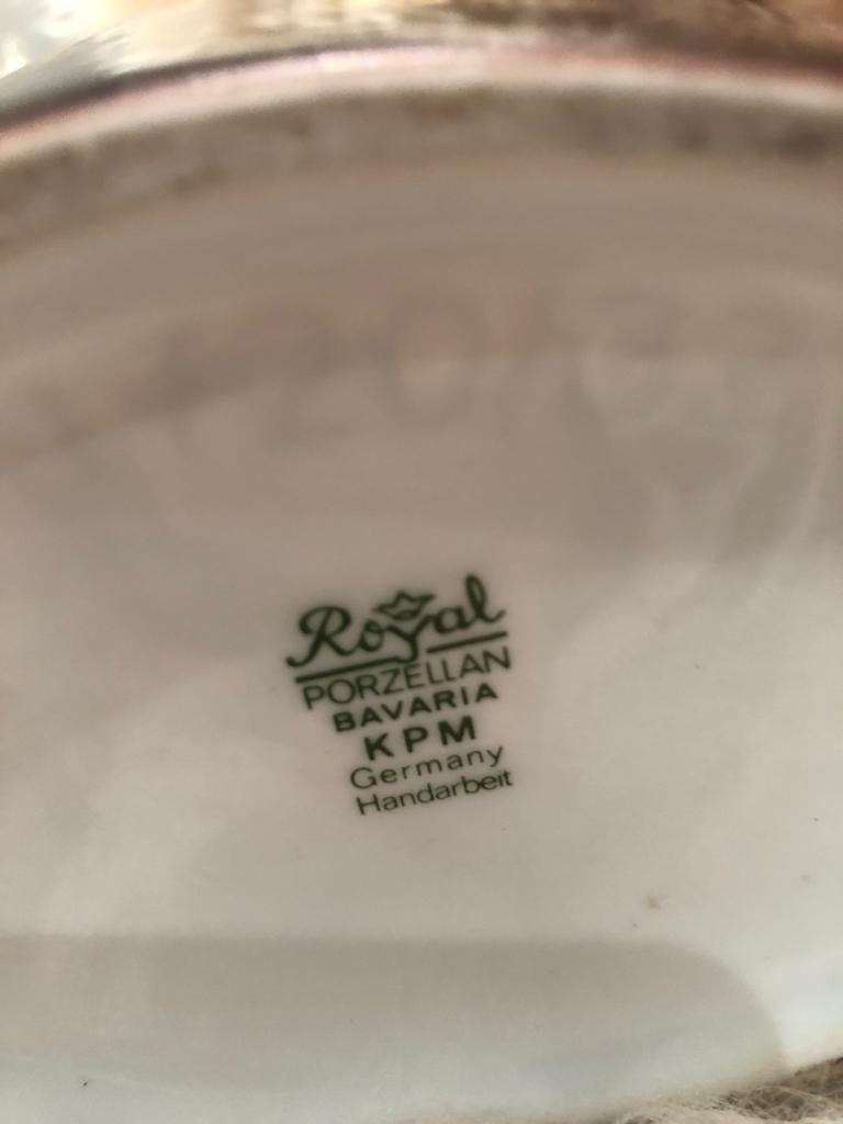 French Fashion 1790-1850 Bicorne Hat Vintage German Porcelain Hand Painted
