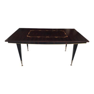 Classic 1940s Art Deco Macassar Ebony Writing Desk or Dining Table For Sale