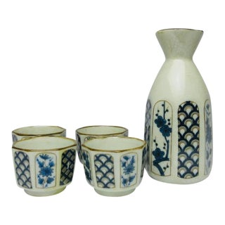 Chinese Porcelain China Sake Set - 5 Piece Set For Sale