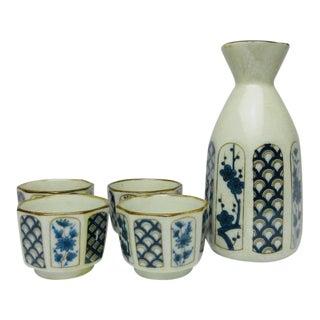 Chinese Porcelain China Sake Set - 5 Piece Set For Sale