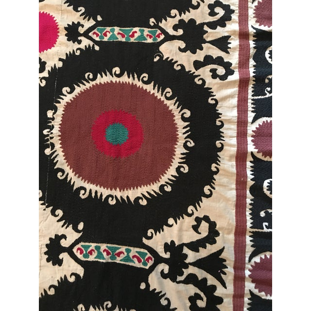 Vintage Uzbek Suzani Hand Embroidered Wall Hanging For Sale - Image 5 of 11