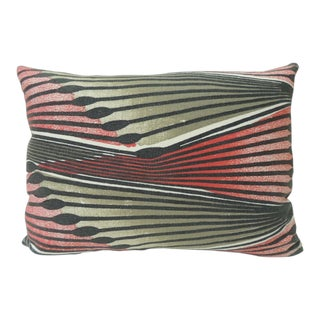 Vintage Red and Grey Modern Swedish Decorative Bolster Pillow For Sale