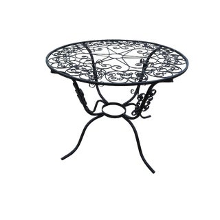 Mid Century Ornate Wrought Iron Round Garden Table (Salterini) Scrolled Round Patio Table For Sale