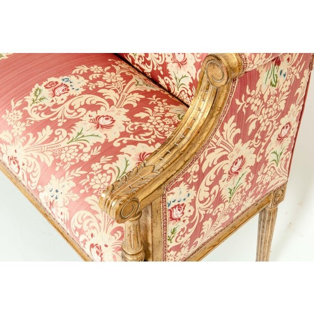Wood French Louis XVI Style Giltwood Frame Settee For Sale - Image 7 of 13