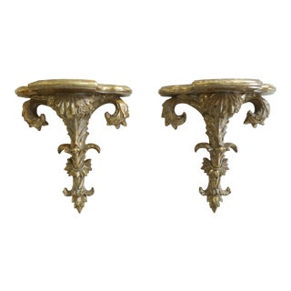 Pair Ornately Carved Italian Style Wall Shelves For Sale