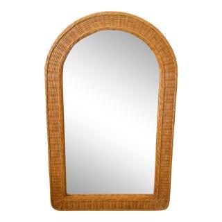 Mid-Century Modern Arch Handwoven Rattan / Wicker Wall Mirror For Sale