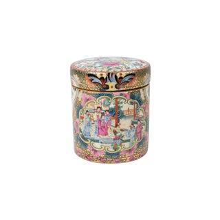 Oriental Rose Medallion Porcelain Round Box For Sale