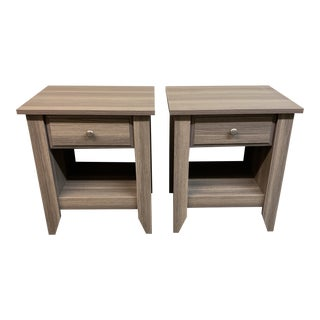 Rustic Taupe Nightstands - a Pair For Sale