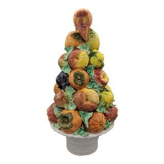 "18"" Mid-Century Italian Majolica Fruit Topiary Centerpiece For Sale"