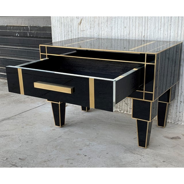 Gold New Pair of Mirrored Low Nightstand in Black Mirror and Chrome With Drawer For Sale - Image 8 of 11