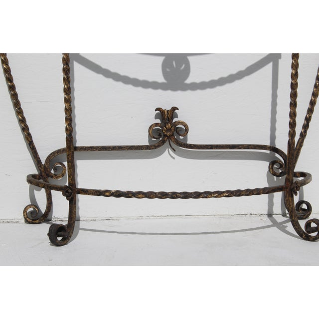1920's Italian Glass Top Gold Leaf Painted Wrought Iron Demi-Lune Accent Table For Sale In San Diego - Image 6 of 11