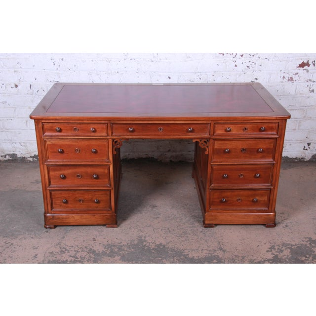 English Traditional Harden Sleepy Hollow Collection Leather Top Partner Desk For Sale - Image 3 of 12