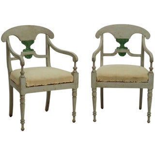 19th Century Antique Swedish Gustavian Armchairs - a Pair For Sale