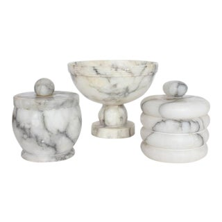 Vintage Italian Alabaster Boxes & Footed Bowl - Set of 3