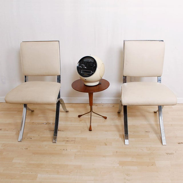 Barcelona Style Chrome & White Chairs - Set of 4 - Image 7 of 8