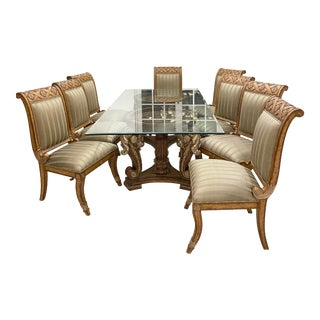 Mediterranean Wood Glass Chic Dining Set - 9 Pieces For Sale