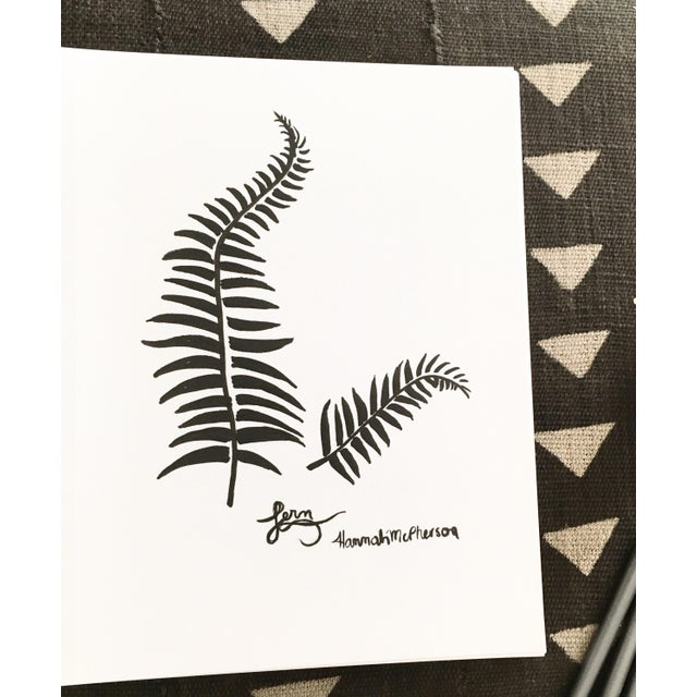 Original sketch by Hannah McPherson in Palm Springs CA. Line art black and white fern stems, ink marker pen on paper. Acid...