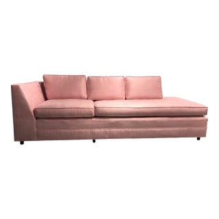 Retro American-Made Restored Pink Velvet Couch For Sale