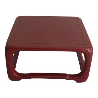 Tommi Parzinger Burgundy Lacquered End Table For Sale