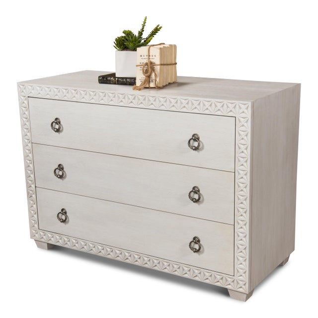 Metal Sarreid Mesa Chest, Working White For Sale - Image 7 of 13