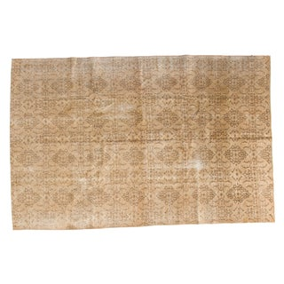 "Distressed Vintage Oushak Carpet - 6'7"" x 10' For Sale"