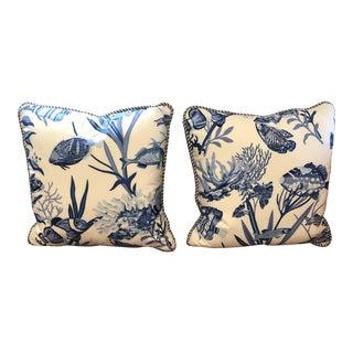 Nautical Fish Print Decorative Throw Pillows- A Pair For Sale