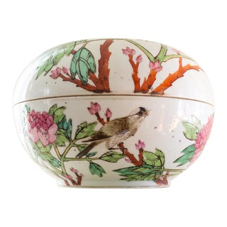 19th C Familly Rose Covered Box | Lidded Food Bowl | Chinese Qing Dynasty For Sale