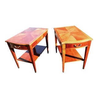 Mid-Century Fruitwood Parquet Top Side Tables - A Pair