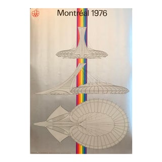 Original Vintage Montreal Olympic Poster, Stadium (Large) For Sale