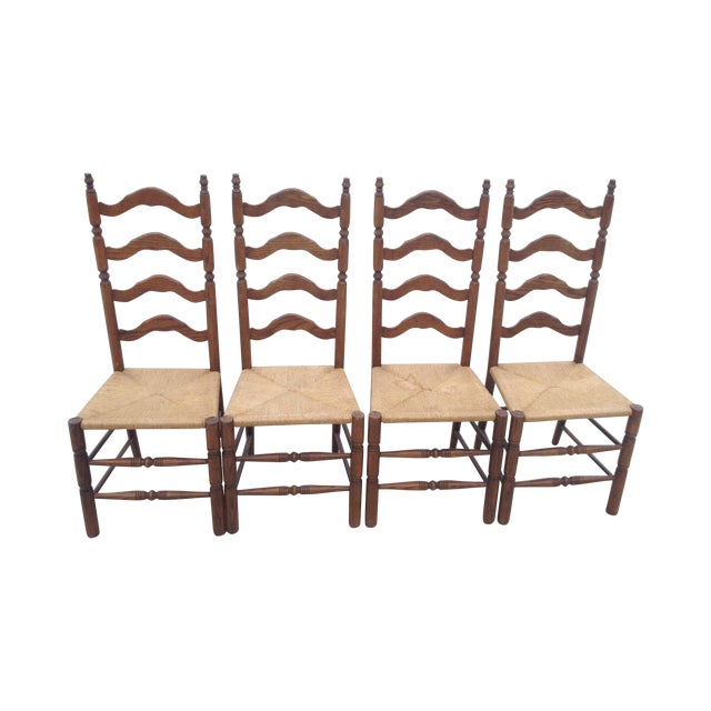 Vintage Tall Ladder Dining Chairs - Set of 4 - Image 1 of 10