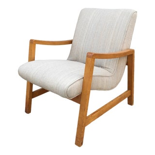 Vintage Mid Century Jens Risom Knoll in Birch Lounge Chair For Sale