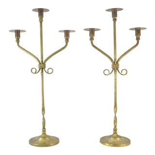 "Antique Chinese Brass 21"" Candelabras - a Pair For Sale"