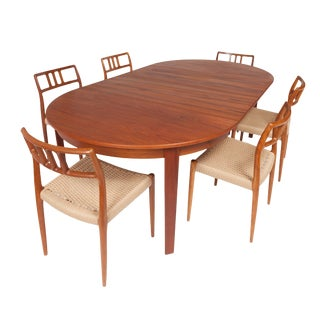 Vintage Danish Teak Dining Table With Six Niels Otto Møller Model #79 Teak Dining Chairs For Sale
