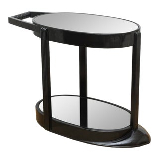 Art Deco Moderne Ebonized Sculptural Bar Cart or Trolley For Sale