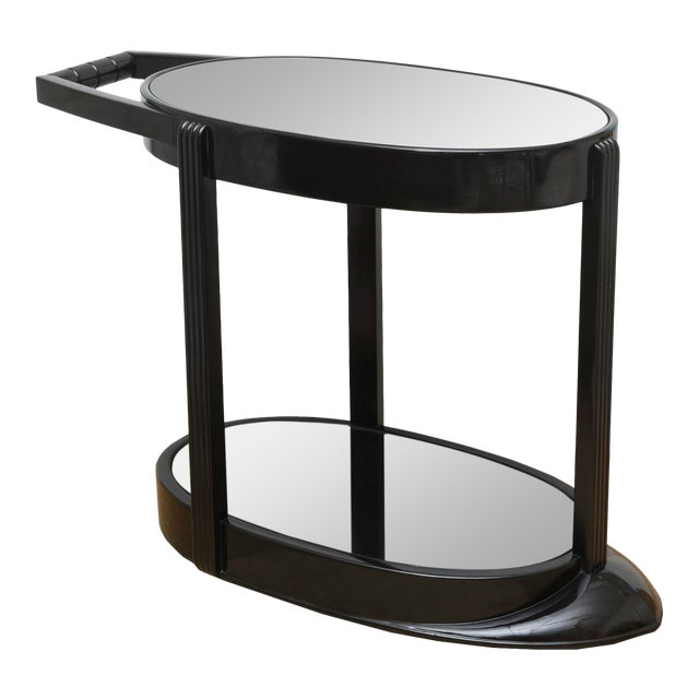 Art Deco Moderne Ebonized Sculptural Bar Cart or Trolley For Sale