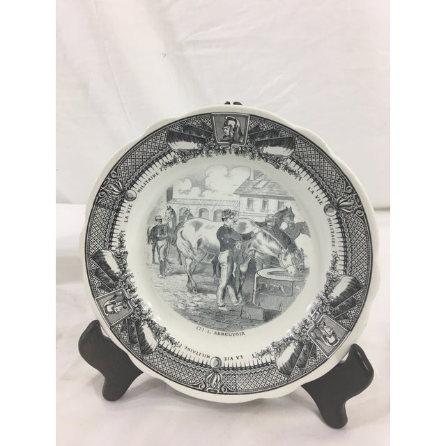 Late 19th Century Sarreguemines French Military Life Plates - Set of 7 For Sale - Image 5 of 9