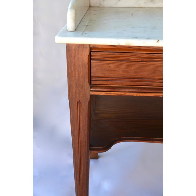 Antique Marble-Top Washstand/Table With Cedar Wood Base For Sale In Los Angeles - Image 6 of 10