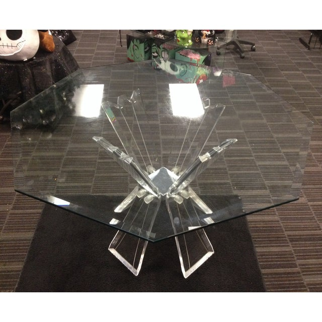 Mid-Century Crystal Lucite Sculptural Dining Table - Image 2 of 6